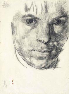 blastedheath: Stanley Spencer (English, 1891-1959), Self-portrait, 1914. Charcoal, 9 x 6 5/8 in. (22.9 x 16.9 cm.)