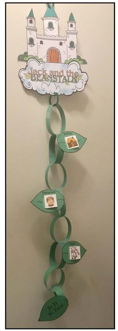 Fairy Tales: Jack & the Beanstalk storytelling craft. Cute paper chain beanstalk with 3 story element leaves: setting, characters & events. Fun way for students to practice the Fairy Tale Projects, Fairy Tale Crafts, Fairy Tale Theme, Fairy Tale Activities, Sequencing Activities, Story Elements Activities, Fairy Tales Unit, Traditional Tales, Jack And The Beanstalk