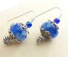 Earrings  Lampwork Murano Blue Glass Bead by uBuNEEKBoutique