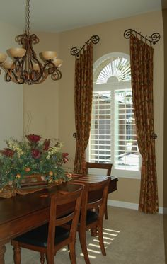 Kitchen and Dining Room Curtains Beautiful Tuscan Country Window Treatments Dining Rooms Dining Room Curtains, Kitchen Window Curtains, Dining Room Windows, Home Curtains, Curtains For Arched Windows, Baby Curtains, Privacy Curtains, Burlap Curtains, Country Window Treatments