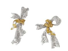 Ribbon Collection diamond earrings by Cindy Chao with diamonds, yellow diamonds and rose-cut diamonds.