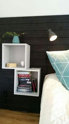 Eket ikea nattduksbord love this head board Ikea Living Room, Ikea Bedroom, Bedroom Inspo, Home Bedroom, Bedroom Wall, Bedroom Decor, Bedrooms, Bedroom Night, Grown Up Bedroom