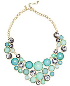 INC International Concepts 14k Gold-Plated Turquoise Multi-Circle Bib Necklace