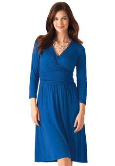 Dress, wrap in knit by Chelsea Studio® | Plus Size New Arrivals | Woman Within