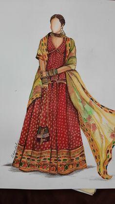 Fashion Model Sketch, Fashion Sketches, Fashion Models, Fashion Illustration Dresses, Fashion Illustrations, Sabyasachi, Lehenga, Dress Design Drawing, Wedding Illustration