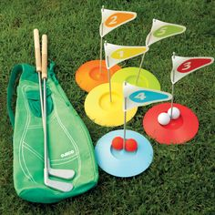 Mini Golf Set - Set up your own mini Golf course in the garden with this simple putting game!    It's universally appealing for all ages.    Features: Includes two clubs, five holes and storage bag.