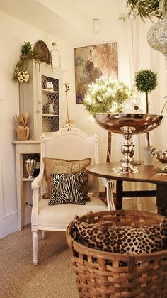 Love the basket, silver, topiary, animal prints, and more....
