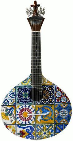 frettedchordophones: Fado Guitar with tiles? =Lardy's Chordophone of the day - a year ago --- https://www.pinterest.com/lardyfatboy/