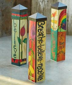 Colorful Garden Art Poles  20-inch