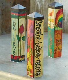 Colorful Garden Art Poles  20-inch
