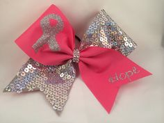 Cheer Bow  Breast Cancer Awareness Sequin by FullBidBows on Etsy