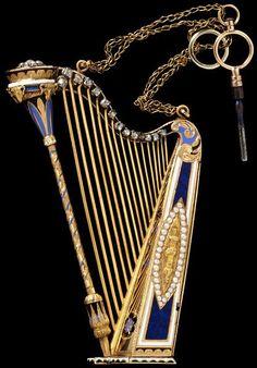 """Musical Box"" Pendant Gold, Enamel, Rose-Cut Diamonds, Pearls Switzerland, 1805-1810"