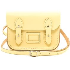 Cambridge Satchel Tiny Satchel - Lemon (5.145 RUB) found on Polyvore featuring bags, handbags, leather crossbody satchel, crossbody handbags, leather crossbody purse, leather cross body purse and leather cross body handbags