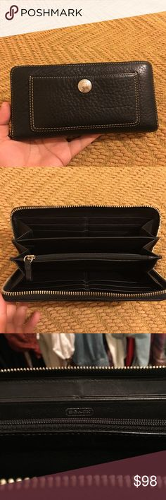 """COACH Chelsea Pebbled Leather Zip Around Accordion COACH Chelsea Pebbled Leather Zip Around Accordion Clutch Wallet. Gently used. Zip around, zipped interior pocket, 12 card slots. Pocket detail on front of the wallet. Measures approximately 8"""" x 4"""". Coach Bags Wallets"""