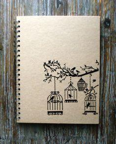 Bird Cage Kraft Notebook Embossed Notebook | https://www.etsy.com/listing/168902274/bird-cage-kraft-notebook-embossed