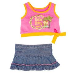 Build a Bear Hello Kitty Pink Tropical Hawaiian Shirt & Jean Denim Skirt NWT Hello Kitty Clothes, Girls Furniture, Build A Bear Outfits, Hello Kitty Tattoos, Baby Doll Accessories, Hello Kitty Birthday, Hello Kitty Collection, Bead Loom Patterns, Mom Daughter