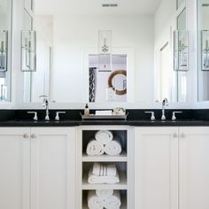 Classic double vanity design with open shelf storage space | Leslie Cotter Interiors