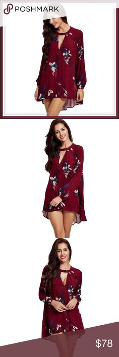 NWT Choker V neck hi lo dress ➖NEW ➖SIZE: Medium  ➖STYLE: A Choker Neckline High Low Floral Dress  ❌NO TRADE   326408 Dresses Mini