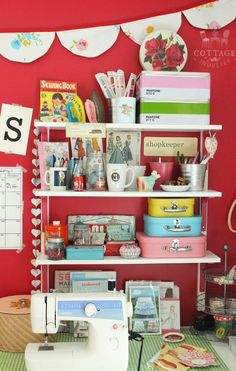 A Sort Of Fairytale: Craft Room - Having things on these shelves keeps them handy.