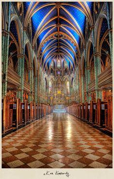 Gothic Notre Dame Cathedral basilica - Ottawa, Ontario.