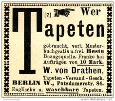 Original-Werbung/ Anzeige 1897 - TAPETEN VON DRATHEN - BERLIN - ca. 45 x 40 mm