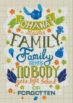 """Lilo and Stitch """"Ohana Means Family"""" Cross Stitch - INSTANT DOWNLOAD"""
