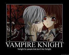 I started watching VK about a week ago, and I just now realized how twilight-ish it is while still being good. So far I'm on episode Vampire Knight Demotivational Vampire Knight Zero, Yuki And Zero, Matsuri Hino, Zero Kiryu, Diabolik Lovers, Cute Anime Couples, I Love Anime, Anime Shows, Manga Anime