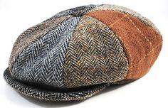 Men's Vintage HARRIS TWEED Color-Block Tweed 100% Wool Newsboy Cabbie Cap Hat