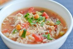 Moroccan Style Chicken Soup with chick peas and couscous.