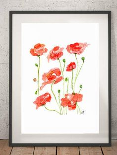 Watercolor Art Print - Title:  Red Poppies -  Red Art, Fine Art, Watercolor Spring Flowers, Happy colors, Wall Art