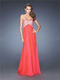 Strapless Sweetheart Beads Empire Open Back Long Chiffon Prom Dress PD11740 www.dresseshouse.co.uk $129.0000