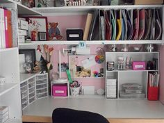 Scrapbooking room......Desk Organization for a girls room...lots of space for pen paper...etc.....