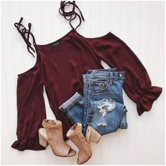 **** Get your first Stitch Fix delivered today!  Plum is the IT color of the season!!  Love this casual cold shoulder top with distressed jean and nude open toe booties.  So cute for Spring! Stitch Fix Spring, Stitch Fix Summer, Stitch Fix Fall 2016 2017. Stitch Fix Spring Summer Fall Fashion. #StitchFix #Affiliate #StitchFixInfluencer