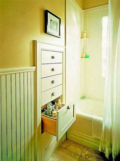 Just in case you have a bit of extra wall space in the bathroom, how about a shallow set of drawers for all the bottles and jars and tubes and containers you want to have at the ready? Neat idea.
