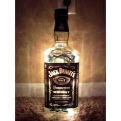 Large Lighted Jack Daniels Bottle Decorative Glass Lamp No. 7 Great... ($23) ❤ liked on Polyvore