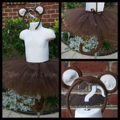 Monkey Tutu Halloween Costume with ears and tail, Size 3 month - 4T. $40.00, via Etsy.