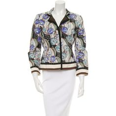 Pre-owned Alberta Ferretti Floral Notch-Lapel Blazer ($65) ❤ liked on Polyvore featuring outerwear, jackets, blazers, blue, fitted blazers, floral jacket, flower print jacket, blue floral blazer and blue jackets