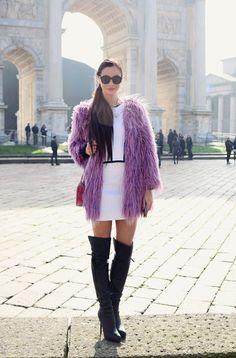 http://www.mariezamboli.com/2014/02/milano-fashion-week-2014-il-mio-outfit.html   #MillyNY #mariezamboli #fashionweek #purple #frontrowshop #overkneeboots #leplasbag