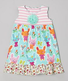 Loving this Aqua & Pink Somebunny Ruffle Babydoll Dress - Toddler & Girls on #zulily! #zulilyfinds