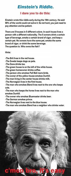 Einstein's Riddle. - Did it in an hour. I'm repinning so I can periodically remind myself how smart I am lol