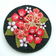HYDRANGEA FELT BROOCH WITH FREEFORM EMBROIDERY by APPLIQUE-designedbyjane, via Flickr
