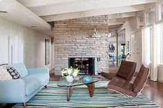 Modern Light Blue And Brown Living Room Area