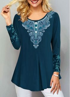 New Arrival | Liligal.com Long Sleeve Tops, Long Sleeve Shirts, Stylish Tops For Women, Printed Tank Tops, Neck T Shirt, Shirt Style, Casual Outfits, Tunic Tops, Sleeves