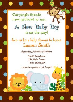 Jungle Safari Baby Shower Invitation Digital por SquigglesDesigns