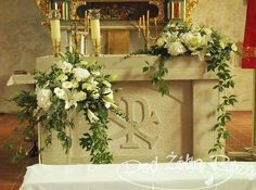 New Ideas For Flowers Arrangements Wedding Church Altars can find Altars and more on our New Ideas For Flowers Arrangements Wedding Church . Church Wedding Flowers, Church Wedding Ceremony, Altar Flowers, Church Flower Arrangements, Church Wedding Decorations, Wedding Altars, Altar Decorations, Flower Decorations, Floral Arrangements