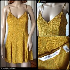 Victoria's Secret Gold Goddess Dress Very sexy golden skater style dress by Victoria's Secret in excellent condition! Features adjustable straps, form fitted from top to hip then flares out. Spandex material with soft crushed velvet patterns throughout. Somewhat see through in areas not covered with velvet but can be worn out due to the thick material. Such a gorgeous versatile piece to own! Never worn but washed and safely stored. Size small. Feel free to ask any questions you may have. ✔️…