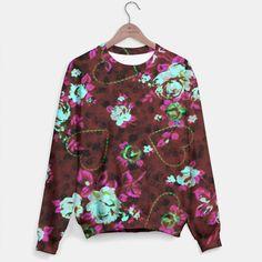Aqua & Fushia Roses Sweater, Live Heroes