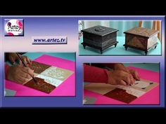 Decorate a box or old metal imitation bronze Decoupage, Steampunk, Mixed Media, Canvas, Youtube, Handmade, Ideas, Craft Videos, Wooden Crates