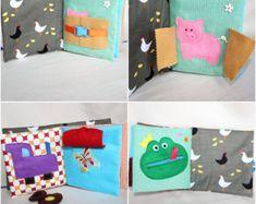 Livre Eveil et Activité, Inspiration Montessori, Livre en Tissu, Eveil Bébé 18 mois, Livre Eveil Animaux