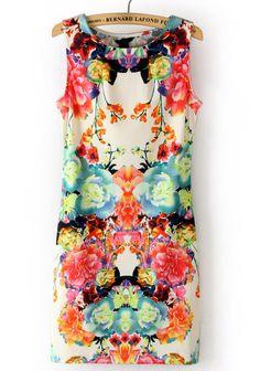 Multi Sleeveless Floral Bodycon Dress $23
